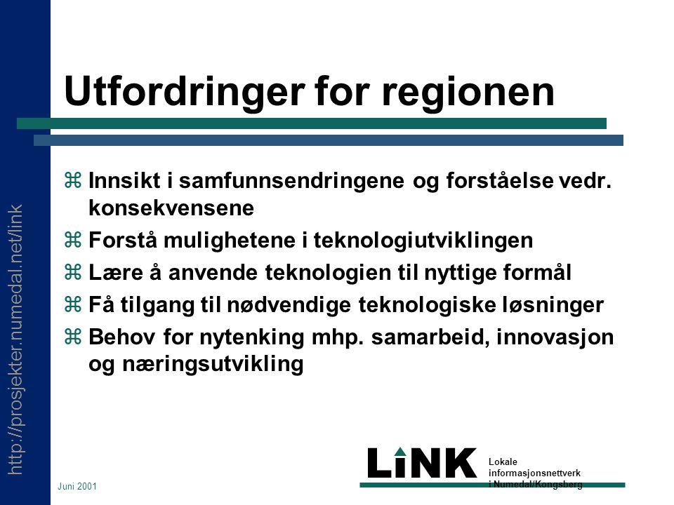 http://prosjekter.numedal.net/link LINK Lokale informasjonsnettverk i Numedal/Kongsberg Juni 2001 Utfordringer for regionen  Innsikt i samfunnsendringene og forståelse vedr.