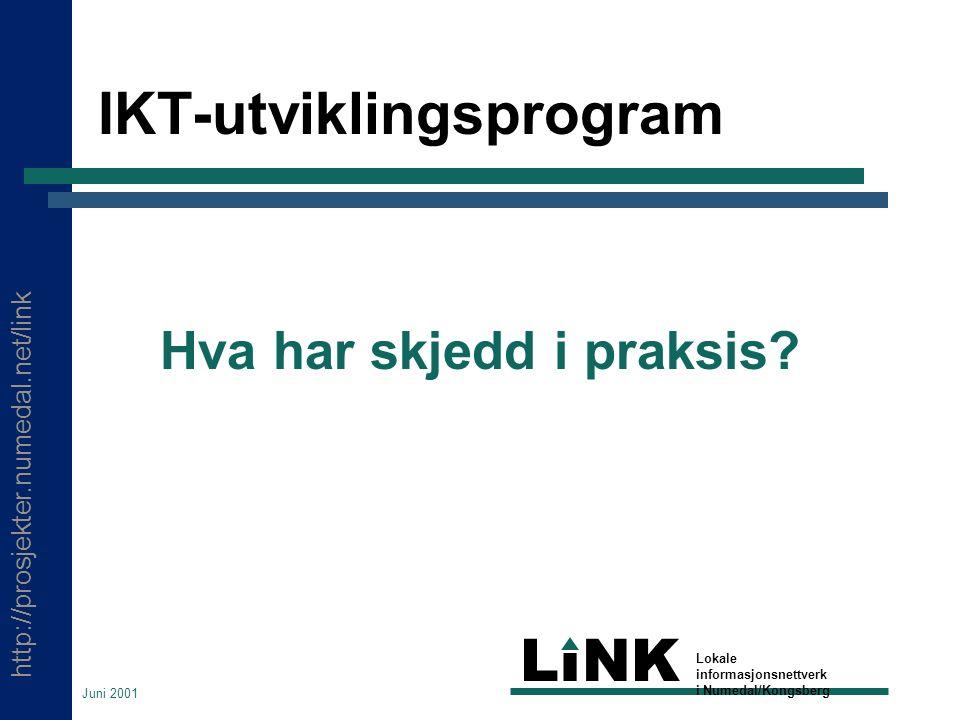 http://prosjekter.numedal.net/link LINK Lokale informasjonsnettverk i Numedal/Kongsberg Juni 2001 IKT-utviklingsprogram Hva har skjedd i praksis