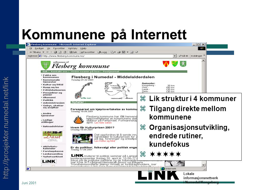 http://prosjekter.numedal.net/link LINK Lokale informasjonsnettverk i Numedal/Kongsberg Juni 2001 Kommunene på Internett  Lik struktur i 4 kommuner  Tilgang direkte mellom kommunene  Organisasjonsutvikling, endrede rutiner, kundefokus 