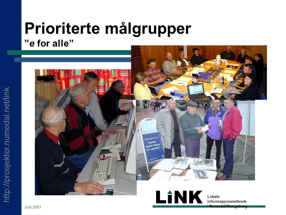 http://prosjekter.numedal.net/link LINK Lokale informasjonsnettverk i Numedal/Kongsberg Juni 2001 Prioriterte målgrupper e for alle