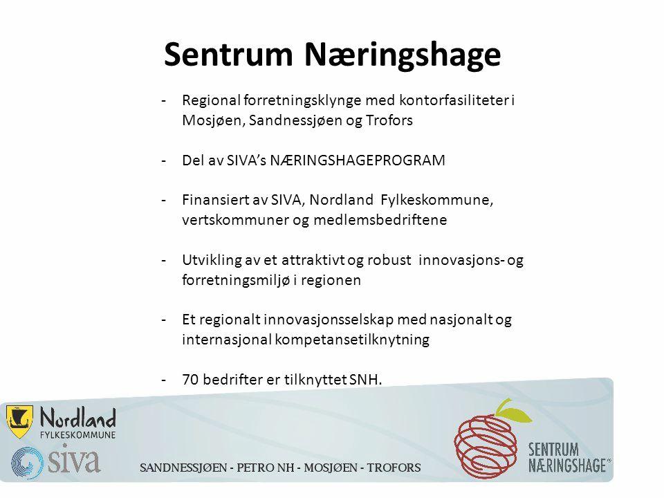 Sentrum Næringshage -Regional forretningsklynge med kontorfasiliteter i Mosjøen, Sandnessjøen og Trofors -Del av SIVA's NÆRINGSHAGEPROGRAM -Finansiert av SIVA, Nordland Fylkeskommune, vertskommuner og medlemsbedriftene -Utvikling av et attraktivt og robust innovasjons- og forretningsmiljø i regionen -Et regionalt innovasjonsselskap med nasjonalt og internasjonal kompetansetilknytning -70 bedrifter er tilknyttet SNH.