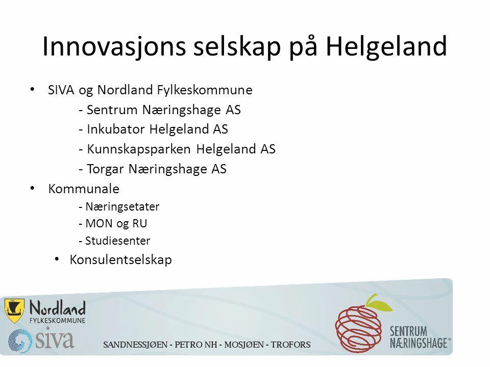 Innovasjons selskap på Helgeland SIVA og Nordland Fylkeskommune - Sentrum Næringshage AS - Inkubator Helgeland AS - Kunnskapsparken Helgeland AS - Torgar Næringshage AS Kommunale - Næringsetater - MON og RU - Studiesenter Konsulentselskap
