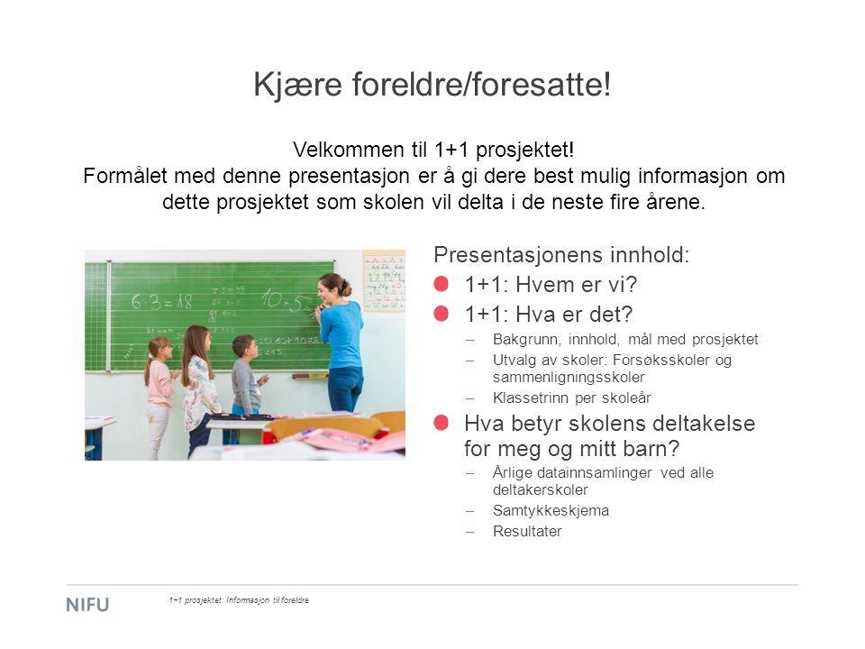 1+1 prosjektet: Gjennomføring ved forsøksskolene (80): Smågruppeundervisning: –Ved små/mellomstore forsøksskoler vil samtlige elever på hvert av de aktuelle trinnene motta smågruppeundervisning i løpet av skoleåret.
