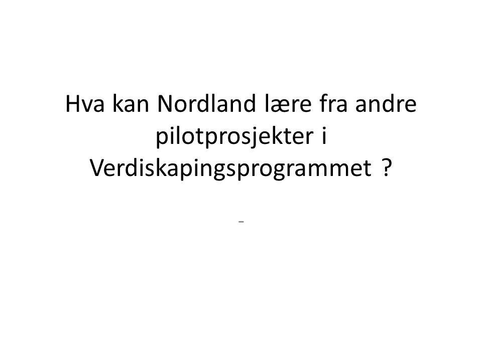 Hva kan Nordland lære fra andre pilotprosjekter i Verdiskapingsprogrammet -
