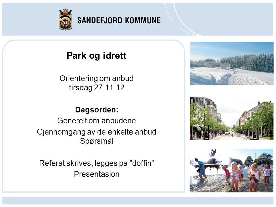 Park og idrett Orientering om anbud tirsdag 27.11.12 Dagsorden: Generelt om anbudene Gjennomgang av de enkelte anbud Spørsmål Referat skrives, legges