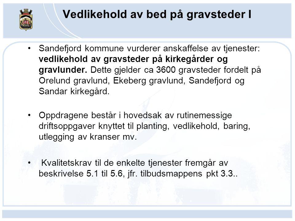 Vedlikehold av bed på gravsteder I Sandefjord kommune vurderer anskaffelse av tjenester: vedlikehold av gravsteder på kirkegårder og gravlunder. Dette