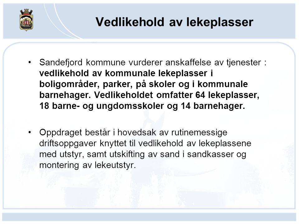 Sandefjord kommune vurderer anskaffelse av tjenester : vedlikehold av kommunale lekeplasser i boligområder, parker, på skoler og i kommunale barnehager.