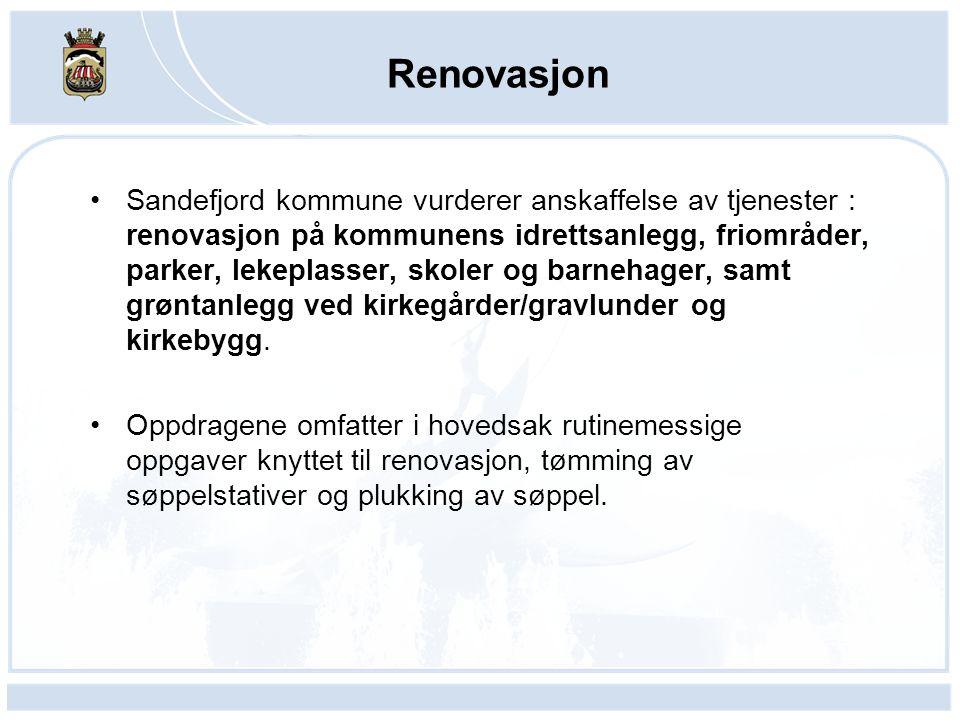 Renovasjon Sandefjord kommune vurderer anskaffelse av tjenester : renovasjon på kommunens idrettsanlegg, friområder, parker, lekeplasser, skoler og barnehager, samt grøntanlegg ved kirkegårder/gravlunder og kirkebygg.