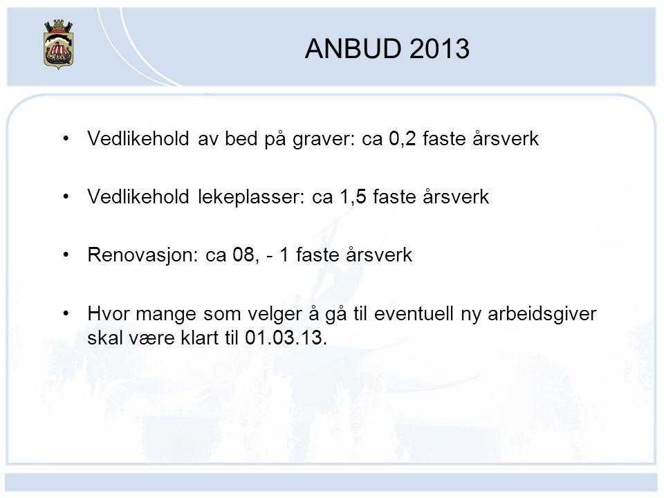 ANBUD 2013 Vedlikehold av bed på graver: ca 0,2 faste årsverk Vedlikehold lekeplasser: ca 1,5 faste årsverk Renovasjon: ca 08, - 1 faste årsverk Hvor