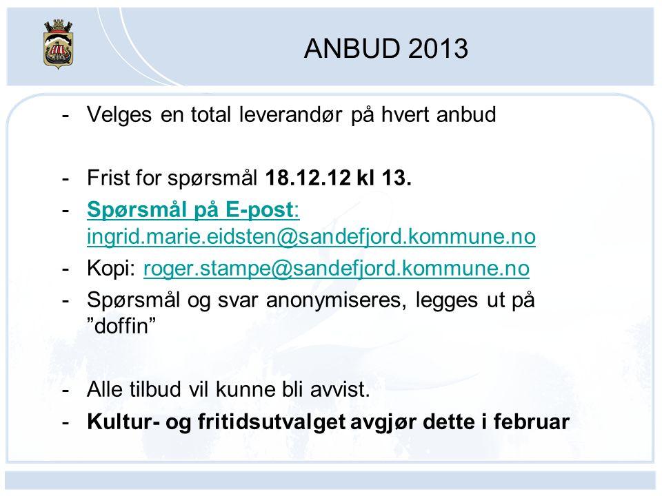 ANBUD 2013 -Velges en total leverandør på hvert anbud -Frist for spørsmål 18.12.12 kl 13. -Spørsmål på E-post: ingrid.marie.eidsten@sandefjord.kommune