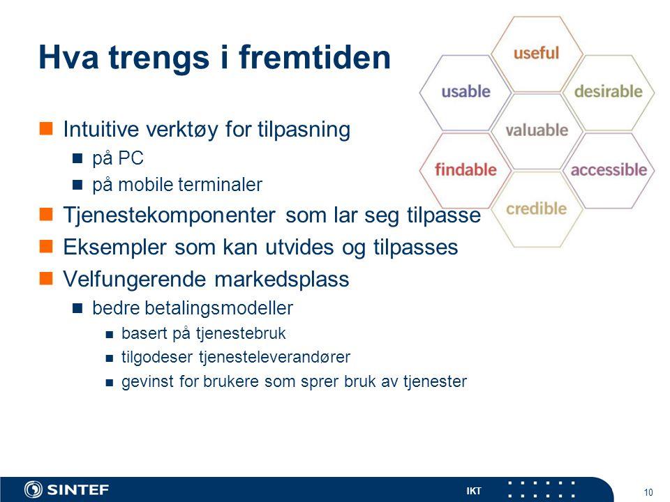 IKT 10 Hva trengs i fremtiden Intuitive verktøy for tilpasning på PC på mobile terminaler Tjenestekomponenter som lar seg tilpasse Eksempler som kan utvides og tilpasses Velfungerende markedsplass bedre betalingsmodeller basert på tjenestebruk tilgodeser tjenesteleverandører gevinst for brukere som sprer bruk av tjenester