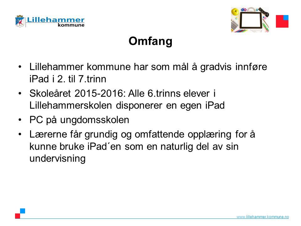 www.lillehammer.kommune.no Praktisk Alle iPader leveres med lader og beskyttelsesetui Alle foreldre får et skriv fra skolen: –Informasjon –Regler for bruk av iPad –Låneavtale (underskrives) Med iPaden følger en «oppskrift» om førstegangsoppsett av iPad.