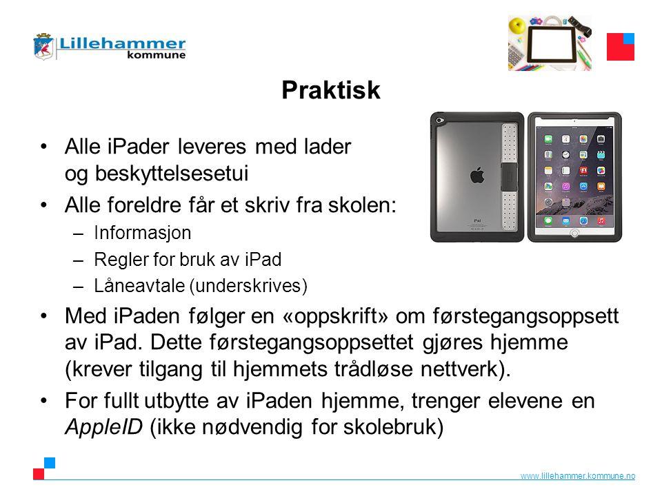 www.lillehammer.kommune.no AppleID Har eleven allerede en AppleID, kan denne brukes.
