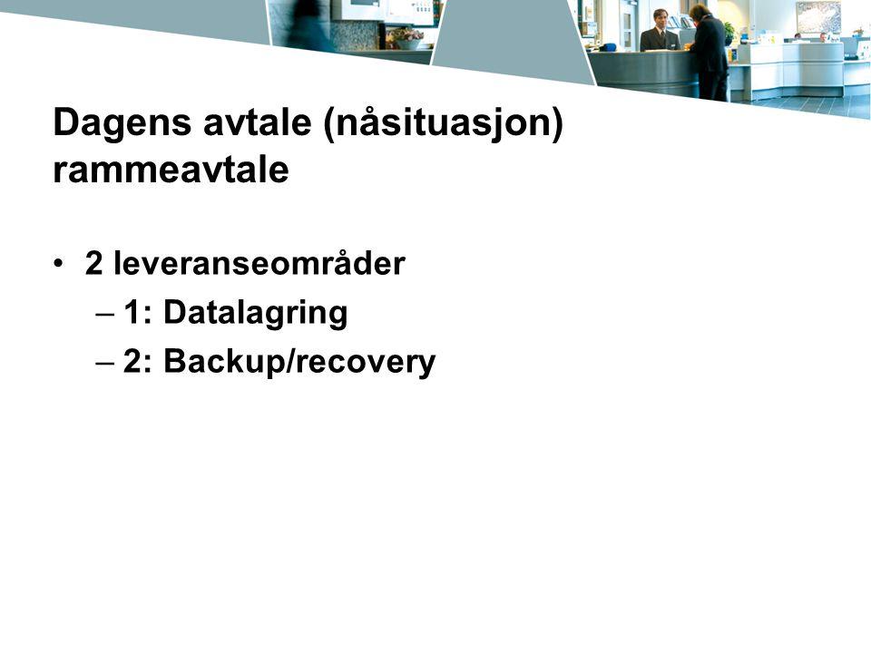 Dagens avtale (nåsituasjon) rammeavtale 2 leveranseområder –1: Datalagring –2: Backup/recovery