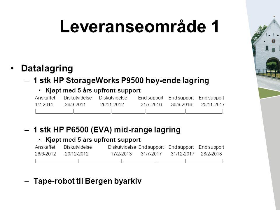 Leveranseområde 1 Datalagring –1 stk HP StorageWorks P9500 høy-ende lagring Kjøpt med 5 års upfront support Anskaffet Diskutvidelse Diskutvidelse End