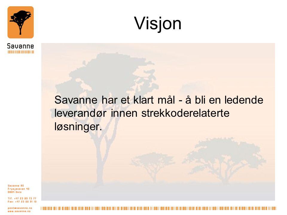 Visjon Savanne har et klart mål - å bli en ledende leverandør innen strekkoderelaterte løsninger.