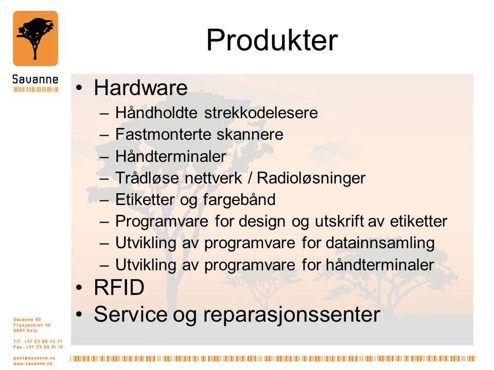 Produkter Hardware –Håndholdte strekkodelesere –Fastmonterte skannere –Håndterminaler –Trådløse nettverk / Radioløsninger –Etiketter og fargebånd –Programvare for design og utskrift av etiketter –Utvikling av programvare for datainnsamling –Utvikling av programvare for håndterminaler RFID Service og reparasjonssenter