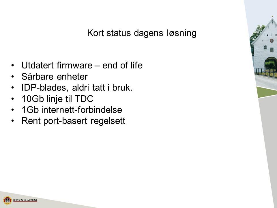 12 Kort status dagens løsning Utdatert firmware – end of life Sårbare enheter IDP-blades, aldri tatt i bruk.