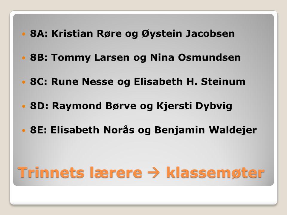 Trinnets lærere  klassemøter 8A: Kristian Røre og Øystein Jacobsen 8B: Tommy Larsen og Nina Osmundsen 8C: Rune Nesse og Elisabeth H.