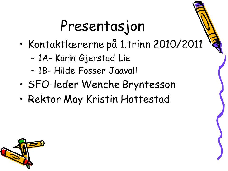 Presentasjon Kontaktlærerne på 1.trinn 2010/2011 –1A- Karin Gjerstad Lie –1B- Hilde Fosser Jaavall SFO-leder Wenche Bryntesson Rektor May Kristin Hatt