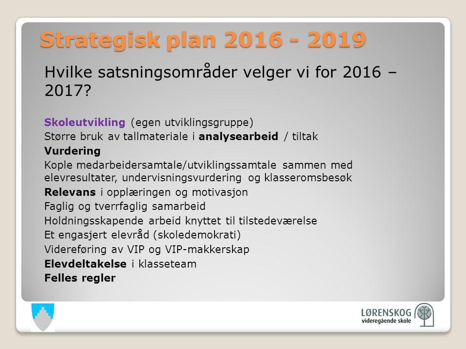 Hvilke satsningsområder velger vi for 2016 – 2017.