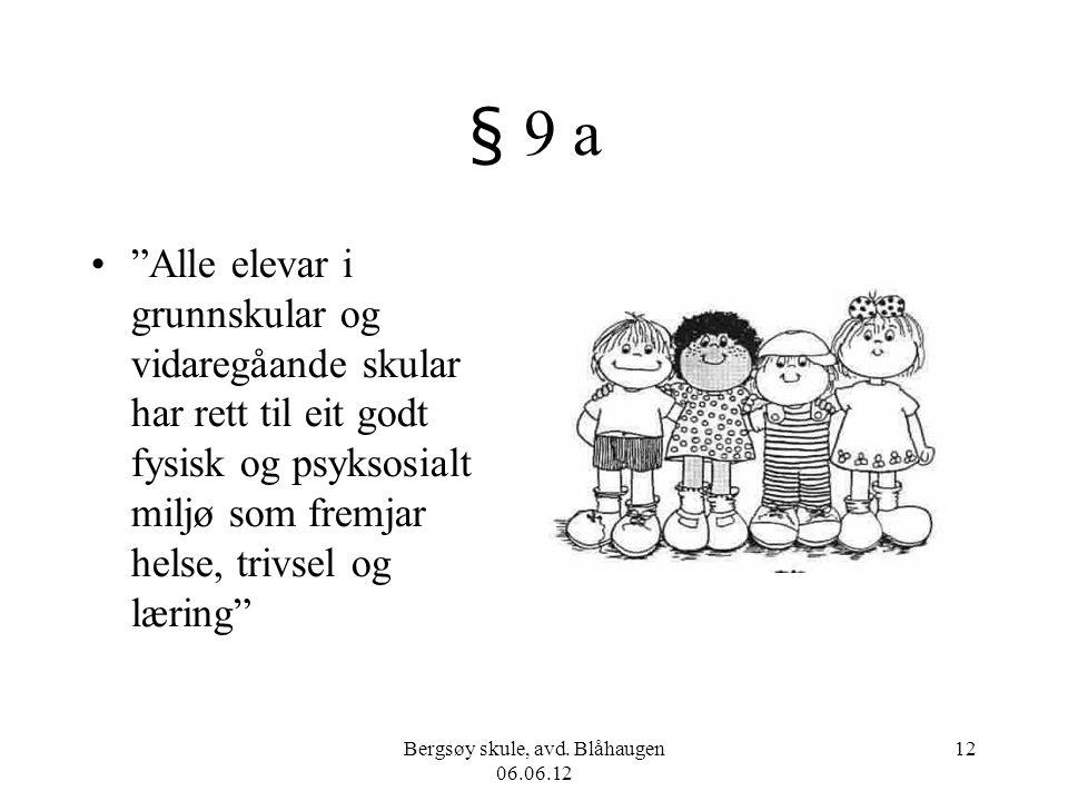 "Bergsøy skule, avd. Blåhaugen 06.06.12 12 § 9 a ""Alle elevar i grunnskular og vidaregåande skular har rett til eit godt fysisk og psyksosialt miljø so"