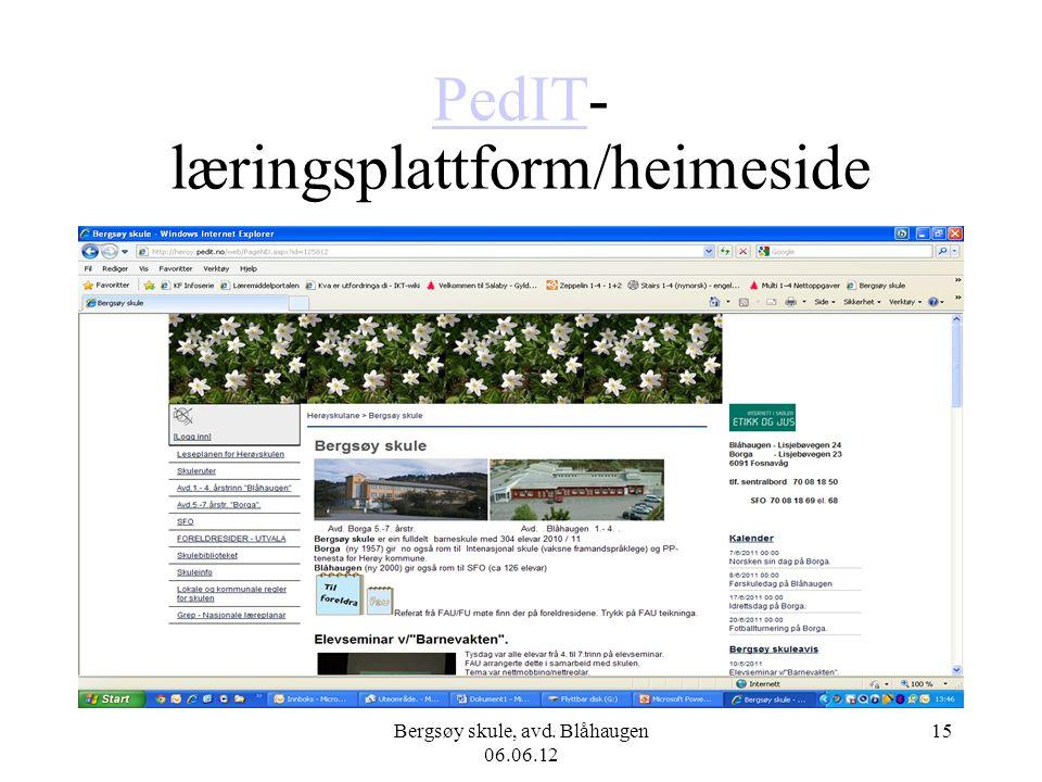Bergsøy skule, avd. Blåhaugen 06.06.12 15 PedITPedIT- læringsplattform/heimeside