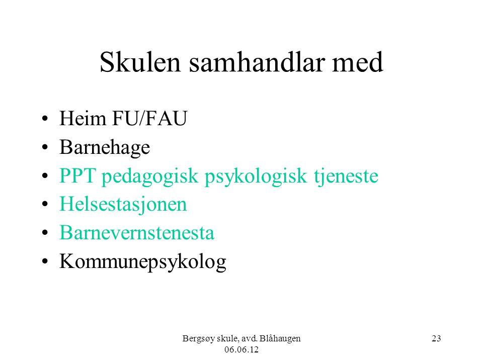 Bergsøy skule, avd. Blåhaugen 06.06.12 23 Skulen samhandlar med Heim FU/FAU Barnehage PPT pedagogisk psykologisk tjeneste Helsestasjonen Barnevernsten