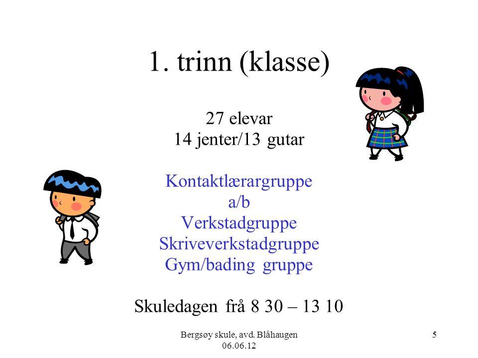 Bergsøy skule, avd. Blåhaugen 06.06.12 5 1. trinn (klasse) 27 elevar 14 jenter/13 gutar Kontaktlærargruppe a/b Verkstadgruppe Skriveverkstadgruppe Gym