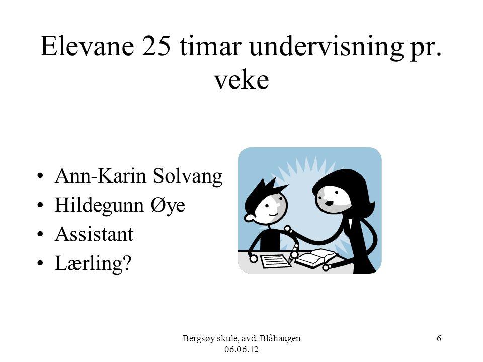 Bergsøy skule, avd. Blåhaugen 06.06.12 6 Elevane 25 timar undervisning pr. veke Ann-Karin Solvang Hildegunn Øye Assistant Lærling?