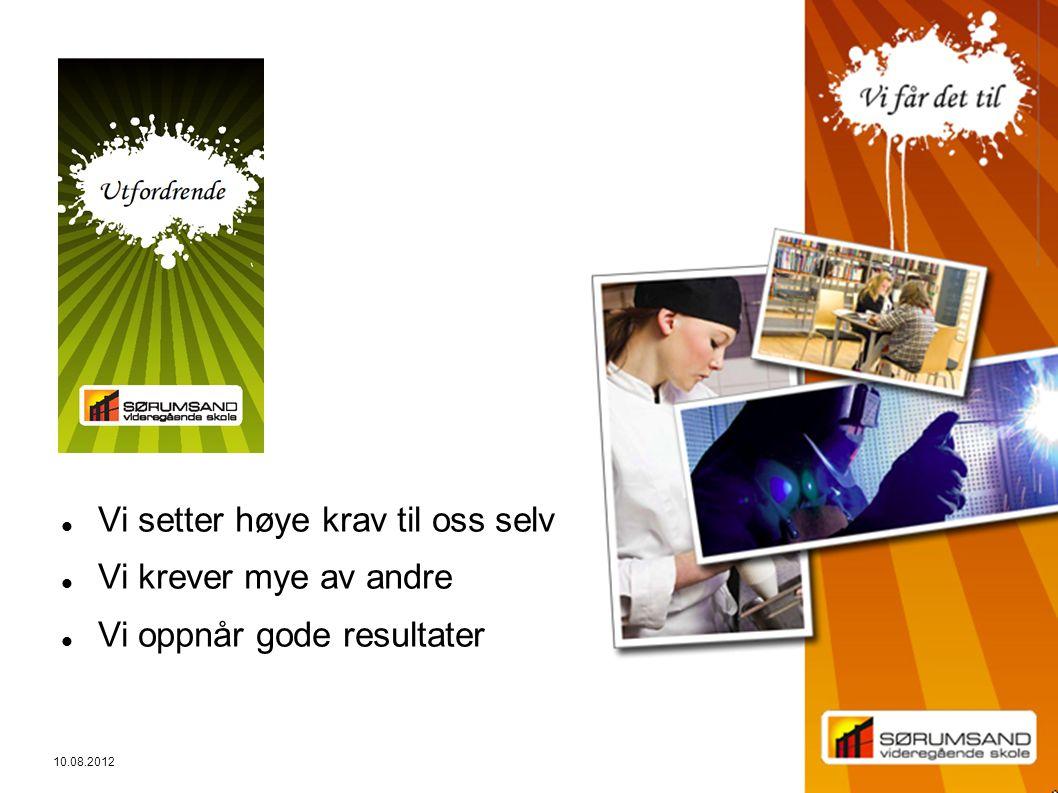 3 10.08.2012 Vi setter høye krav til oss selv Vi krever mye av andre Vi oppnår gode resultater