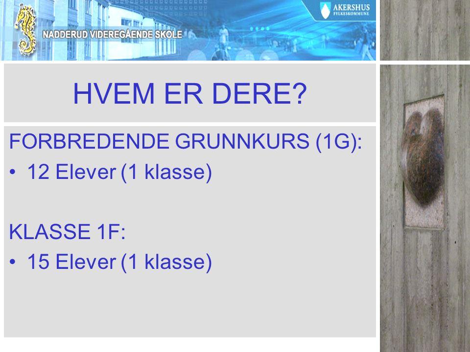 HVEM ER DERE? FORBREDENDE GRUNNKURS (1G): 12 Elever (1 klasse) KLASSE 1F: 15 Elever (1 klasse)