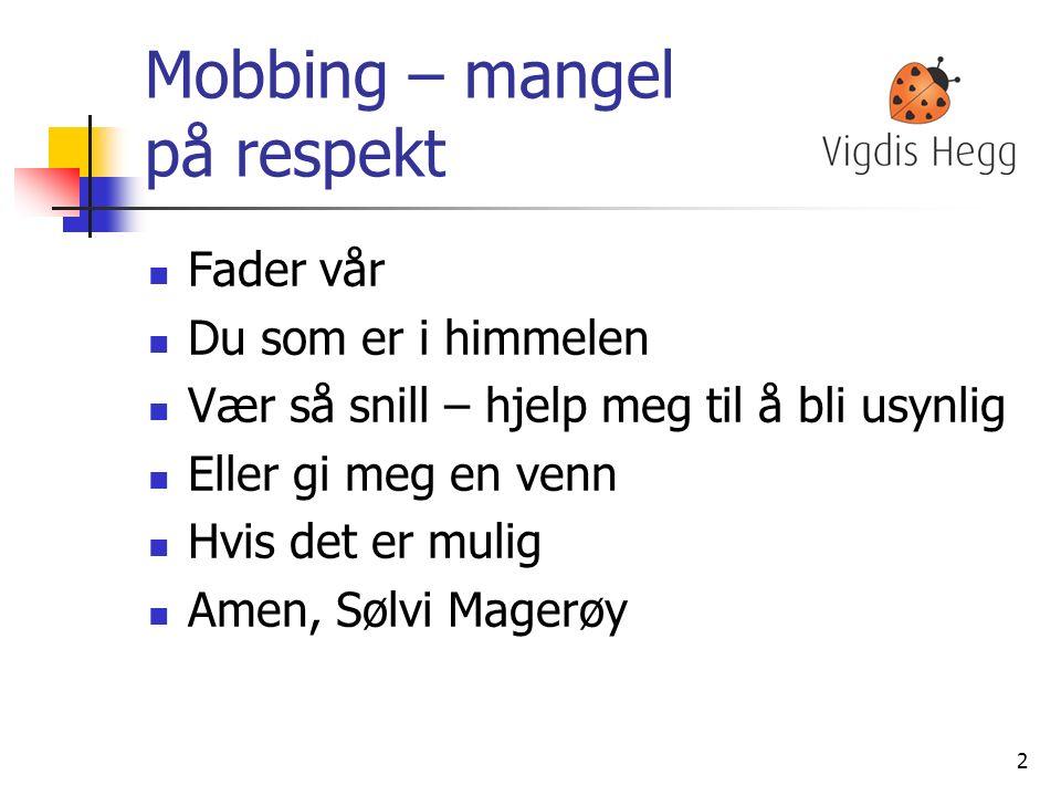 Mobbing I Norge våkner omtrent 60 000 barn/unge hver morgen til angsten for å bli mobbet – 5% av elevene i grunnskolen blir utsatt for mobbing en gang i uka eller oftere – det betyr ca 10 elever her ukentlig.