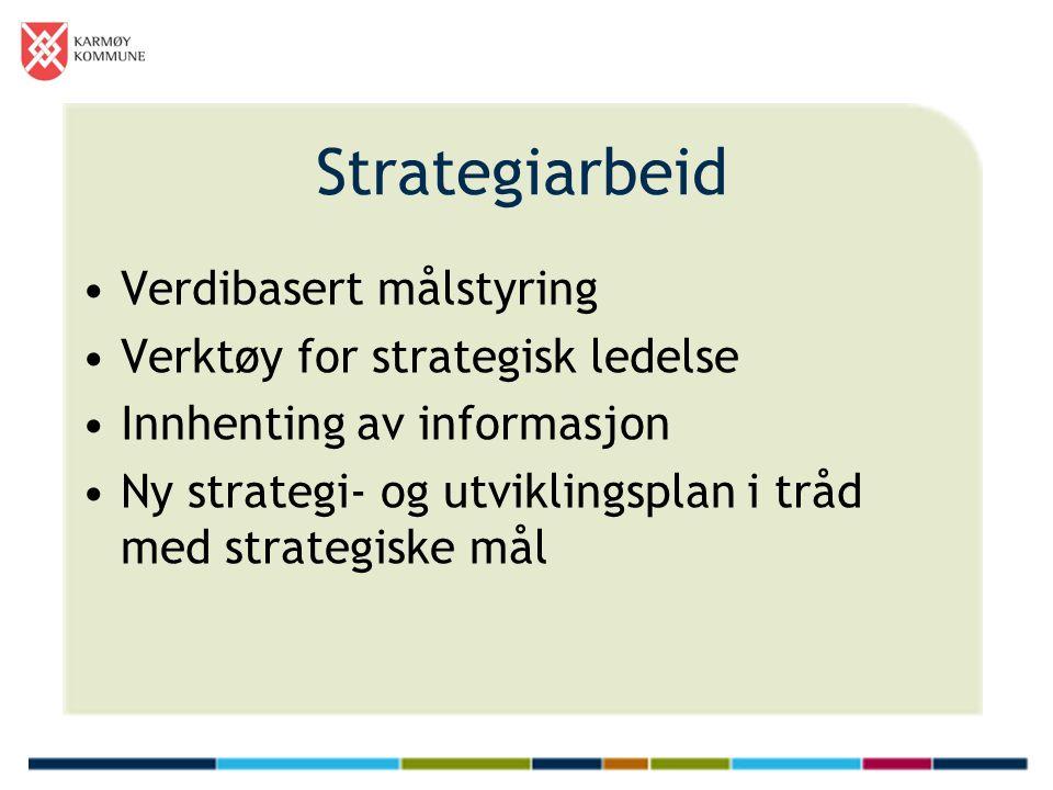 Strategiarbeid Verdibasert målstyring Verktøy for strategisk ledelse Innhenting av informasjon Ny strategi- og utviklingsplan i tråd med strategiske mål