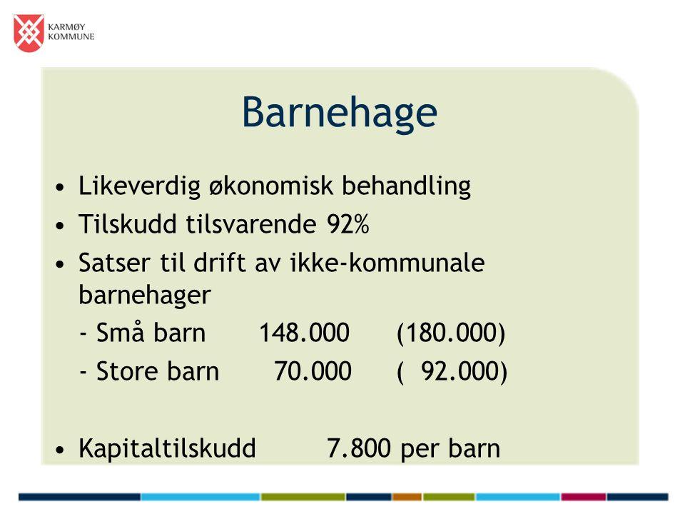 Barnehage Likeverdig økonomisk behandling Tilskudd tilsvarende 92% Satser til drift av ikke-kommunale barnehager - Små barn 148.000(180.000) - Store barn 70.000( 92.000) Kapitaltilskudd7.800 per barn