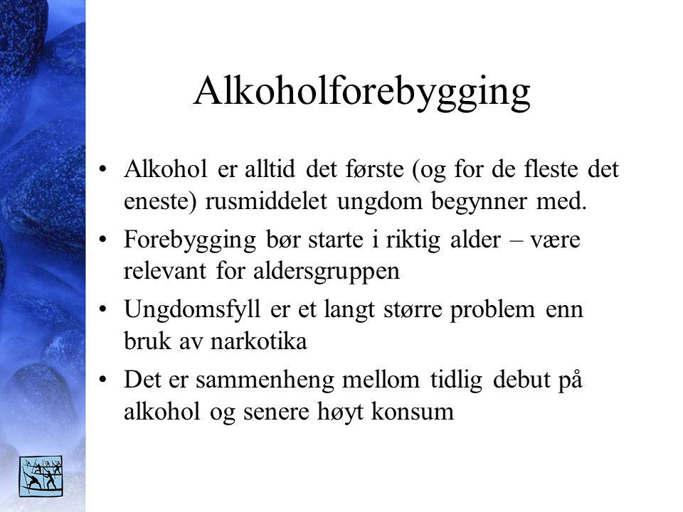 Alkoholforebygging Alkohol er alltid det første (og for de fleste det eneste) rusmiddelet ungdom begynner med.