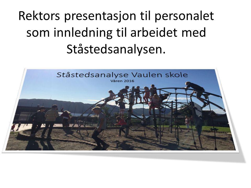 Rektors presentasjon til personalet som innledning til arbeidet med Ståstedsanalysen.