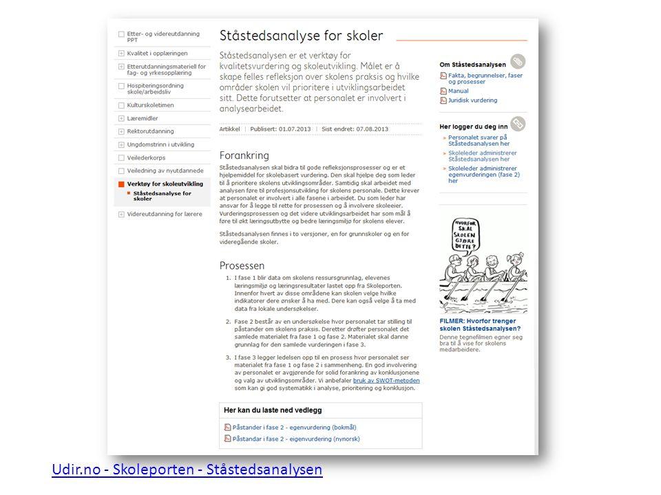 Udir.no - Skoleporten - Ståstedsanalysen