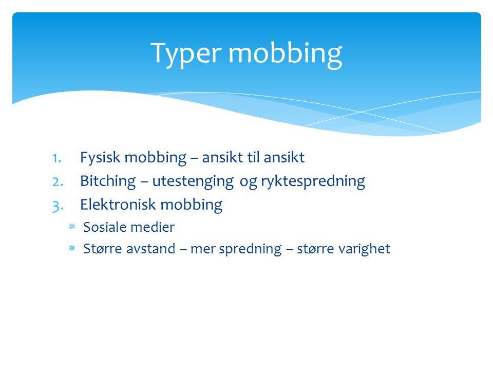 1.Fysisk mobbing – ansikt til ansikt 2.Bitching – utestenging og ryktespredning 3.Elektronisk mobbing  Sosiale medier  Større avstand – mer spredning – større varighet Typer mobbing