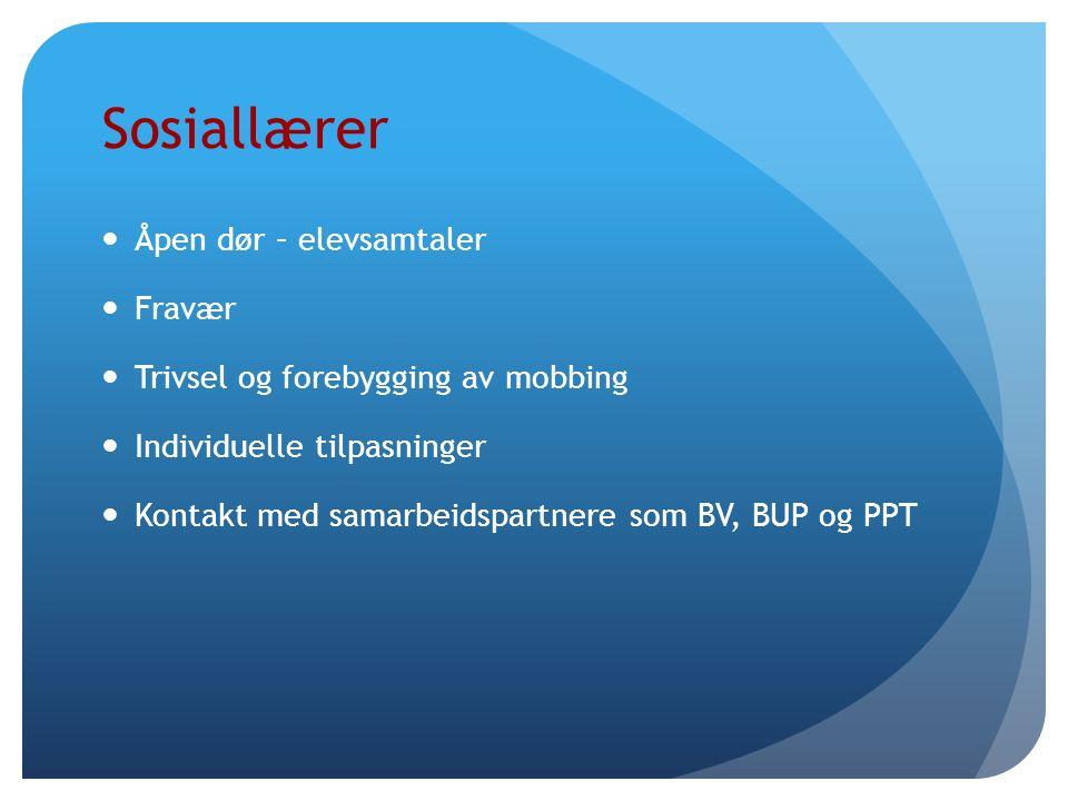 Sosiallærer Åpen dør – elevsamtaler Fravær Trivsel og forebygging av mobbing Individuelle tilpasninger Kontakt med samarbeidspartnere som BV, BUP og PPT