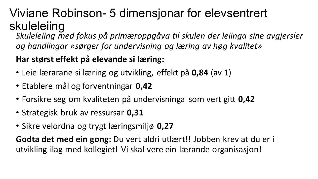 Viviane Robinson- 5 dimensjonar for elevsentrert skuleleiing Skuleleiing med fokus på primæroppgåva til skulen der leiinga sine avgjersler og handlingar «sørger for undervisning og læring av høg kvalitet» Har størst effekt på elevande si læring: Leie lærarane si læring og utvikling, effekt på 0,84 (av 1) Etablere mål og forventningar 0,42 Forsikre seg om kvaliteten på undervisninga som vert gitt 0,42 Strategisk bruk av ressursar 0,31 Sikre velordna og trygt læringsmiljø 0,27 Godta det med ein gong: Du vert aldri utlært!.