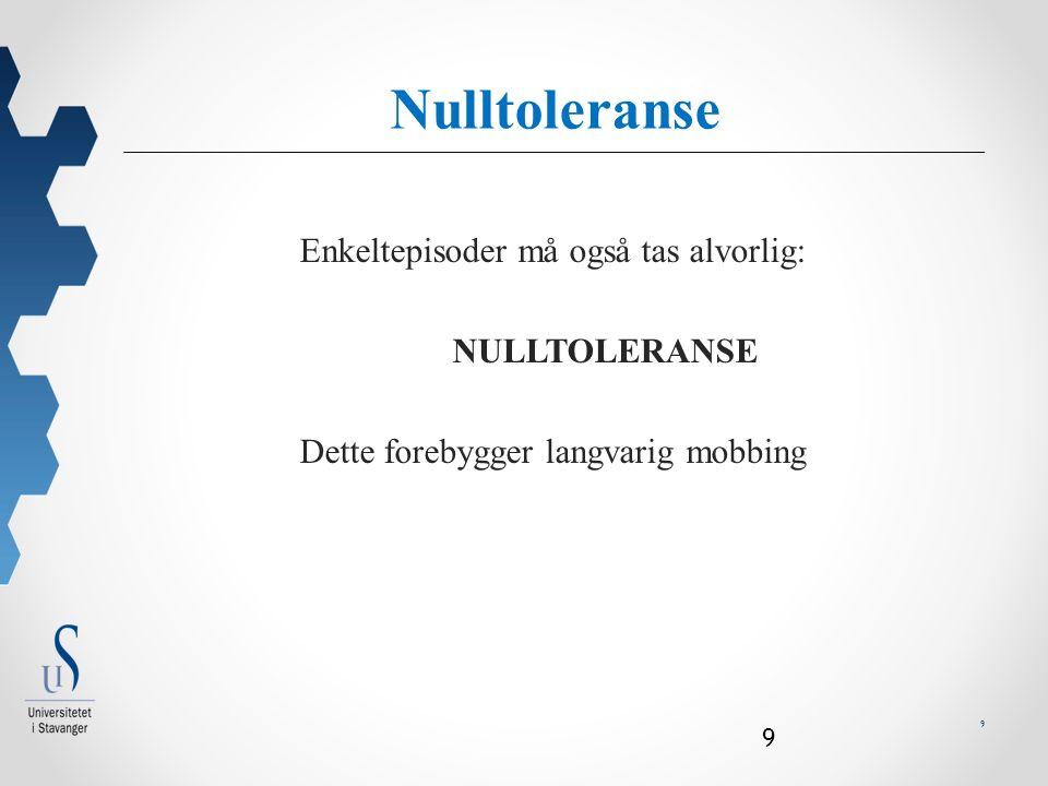 9 9 Enkeltepisoder må også tas alvorlig: NULLTOLERANSE Dette forebygger langvarig mobbing j Null toleranse