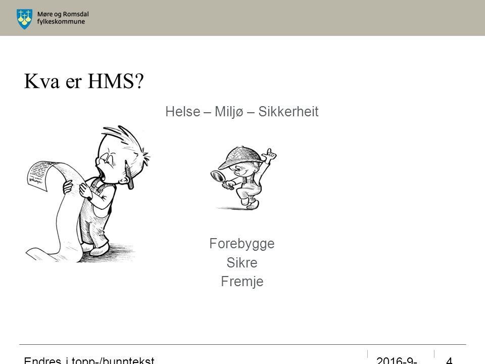 Kva er HMS Helse – Miljø – Sikkerheit Forebygge Sikre Fremje 23.09.2016 Endres i topp-/bunntekst 4