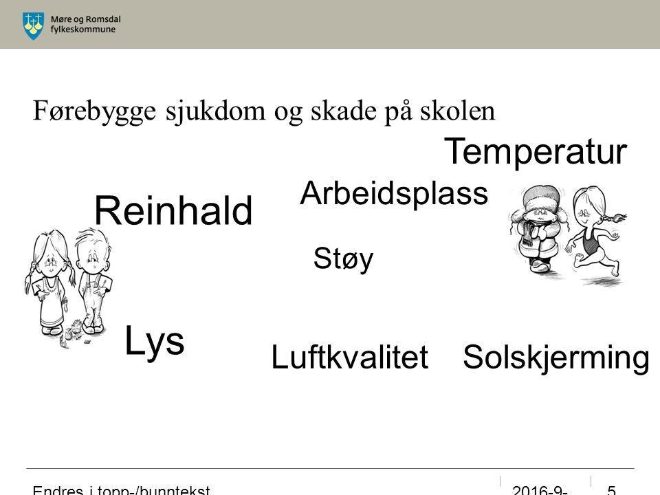 Førebygge sjukdom og skade på skolen 23.09.2016 Endres i topp-/bunntekst 5 Reinhald Temperatur Luftkvalitet Lys Solskjerming Støy Arbeidsplass
