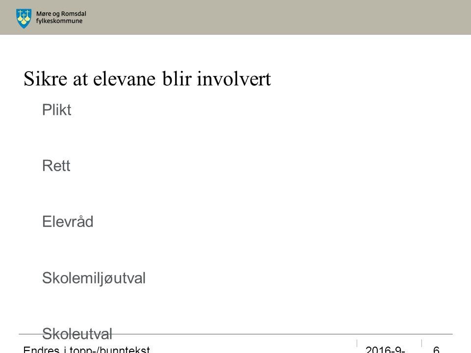 Sikre at elevane blir involvert Plikt Rett Elevråd Skolemiljøutval Skoleutval m.m.