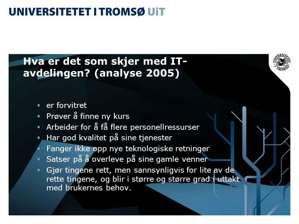 Hva er det som skjer med IT- avdelingen? (analyse 2005)  er forvitret  Prøver å finne ny kurs  Arbeider for å få flere personellressurser  Har god