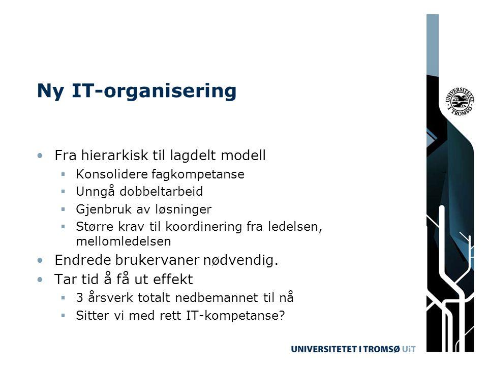 Ny IT-organisering Fra hierarkisk til lagdelt modell  Konsolidere fagkompetanse  Unngå dobbeltarbeid  Gjenbruk av løsninger  Større krav til koord