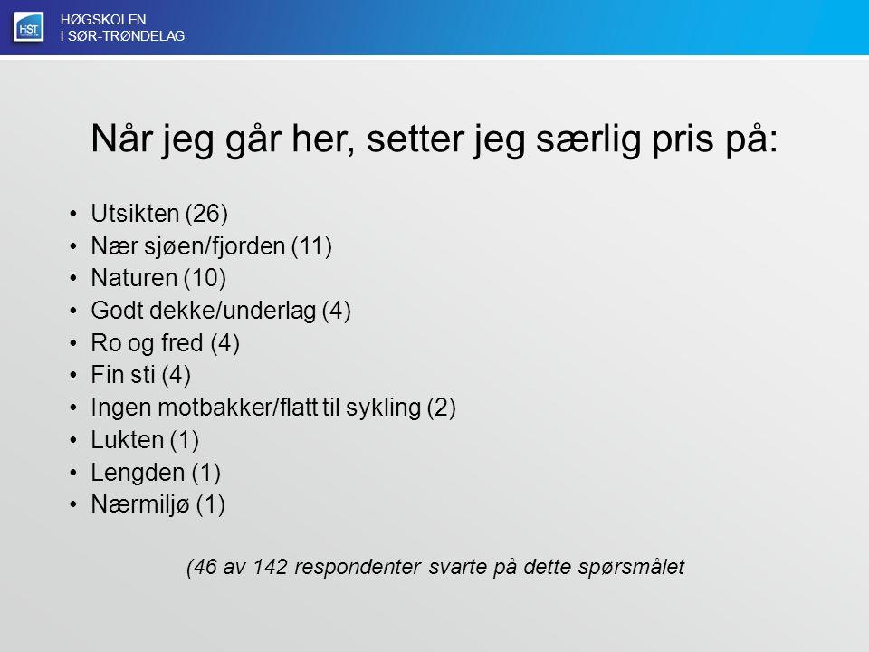 HØGSKOLEN I SØR-TRØNDELAG Når jeg går her, setter jeg særlig pris på: Utsikten (26) Nær sjøen/fjorden (11) Naturen (10) Godt dekke/underlag (4) Ro og fred (4) Fin sti (4) Ingen motbakker/flatt til sykling (2) Lukten (1) Lengden (1) Nærmiljø (1) (46 av 142 respondenter svarte på dette spørsmålet