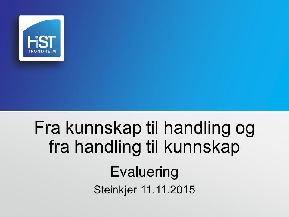 Fra kunnskap til handling og fra handling til kunnskap Evaluering Steinkjer 11.11.2015