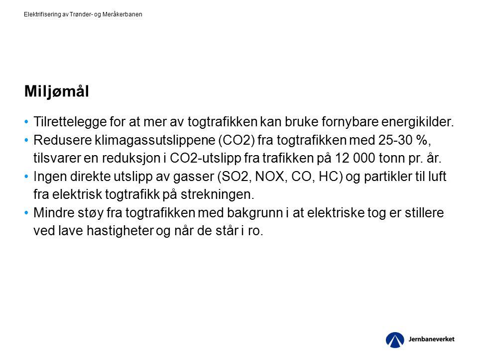 Miljømål Tilrettelegge for at mer av togtrafikken kan bruke fornybare energikilder. Redusere klimagassutslippene (CO2) fra togtrafikken med 25-30 %, t